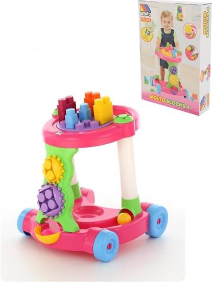 ПОЛЕСЬЕ Каталка игровая с конструктором (13 элементов) в коробке (розовая) 58140 - фото 11189