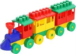 ПОЛЕСЬЕ Паровоз с двумя вагонами, 15 деталей 2044