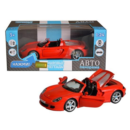 АВТОПАНОРАМА Машинка металлическая, 1:24, Porsche Carrera GT, открываются передние двери, капот и багажник. Свободный ход колес. Световые и звуковые эффекты. в/к 24,5х12,5х10,5 см JB1200220