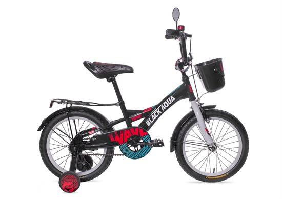 "BLACK AQUA Велосипед ""WAVE NEW"" 18"" со свет. колесами KG1828"