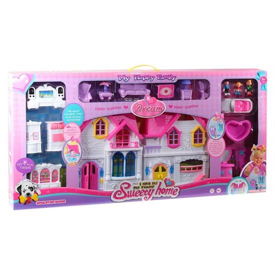 Дом для кукол, на бат.,свет.звук. эфф., с фигурками, мебелью, кабриолетом, в/к 88*9*43 см JB0204473