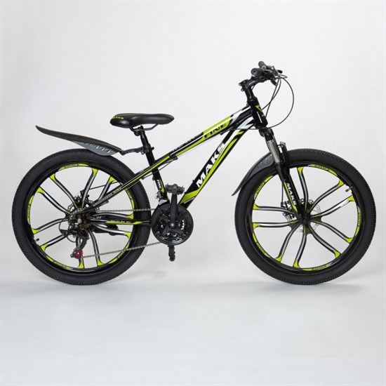 """Велосипед 24"""" MAKS """"FINE"""" MD Литые диски 21 скорость Рама 13 цвет зеленый"""