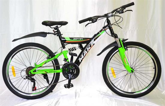 """Велосипед 24"""" MAKS """"SOFT"""" MD Двухподвес 21 скорость Рама 16 цвет черно/зеленый"""