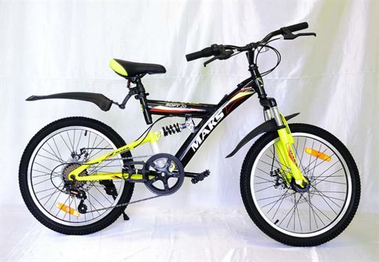 """Велосипед 24"""" MAKS """"SOFT"""" MD Двухподвес 21 скорость Рама 16 цвет черно/желтый"""