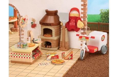 В комплекте:  печь с лопаткой для пиццы, касса, мотоцикл, униформа и множество аксессуаров